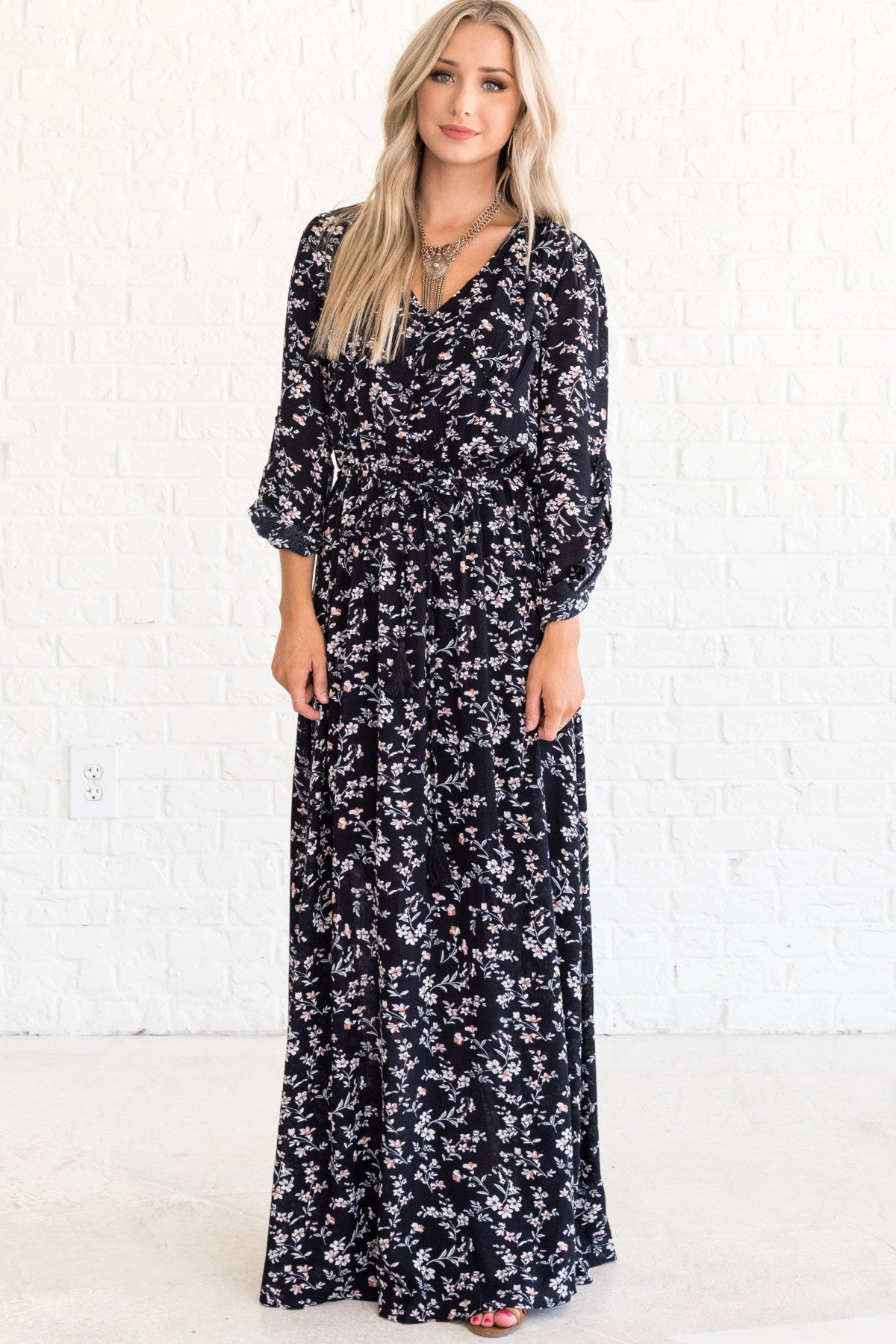 Navy Blue Long Floral Maxi Winter Dresses for Women
