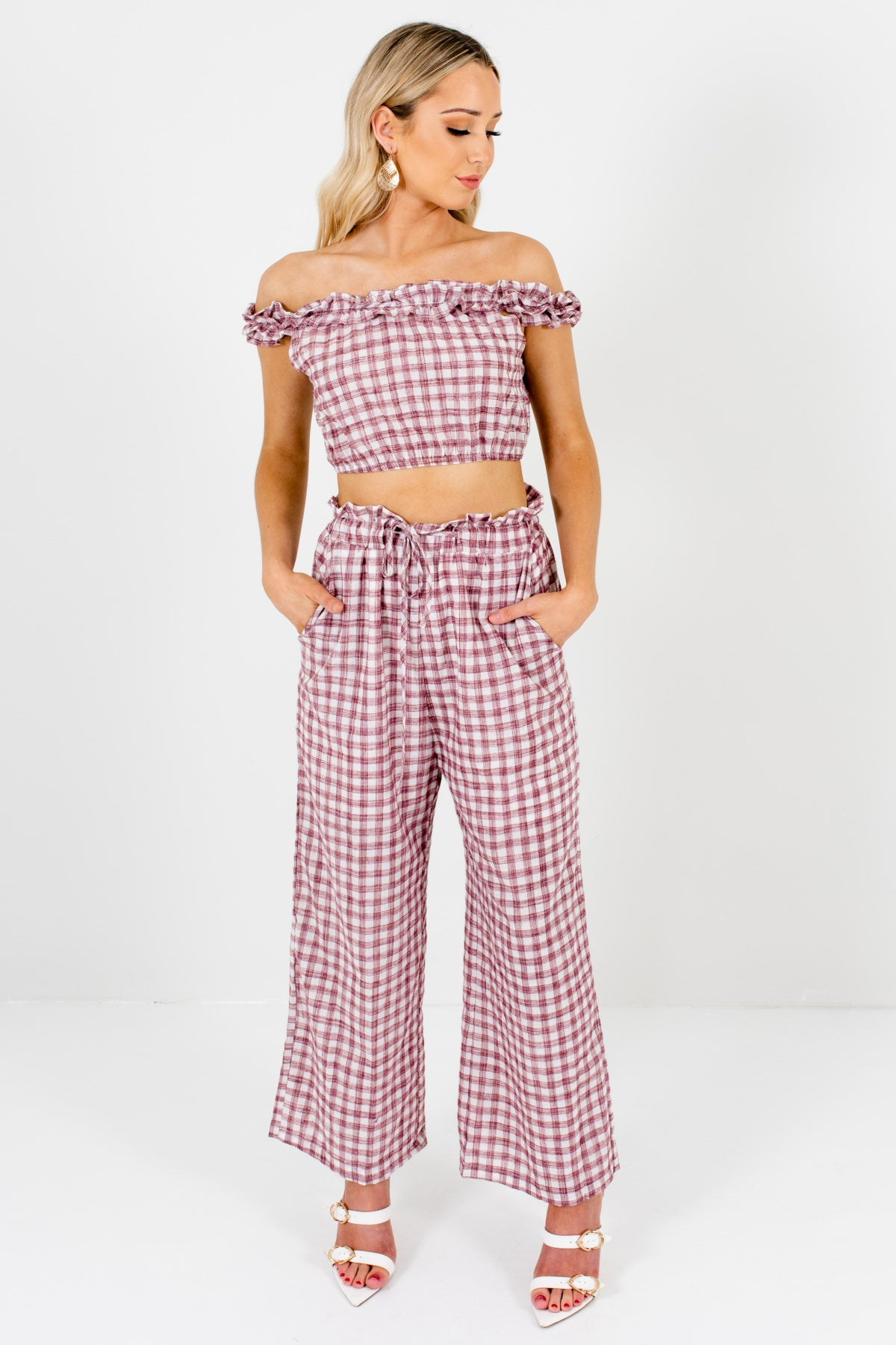 White Maroon Plaid Two-Piece Crop Top and Pants Matching Set