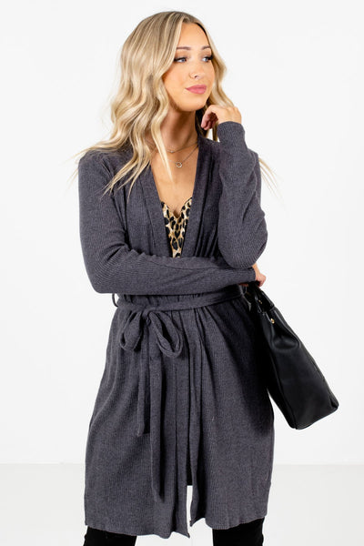 Charcoal Gray High-Quality Ribbed Material Boutique Cardigans for Women