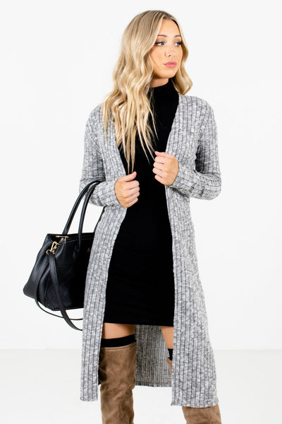 Heather Gray High-Quality Ribbed Material Boutique Cardigans for Women