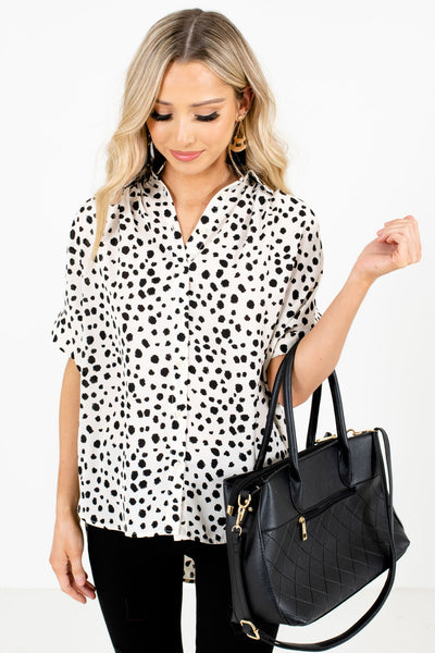 Cream and Black Abstract Polka Dot Patterned Boutique Blouses for Women