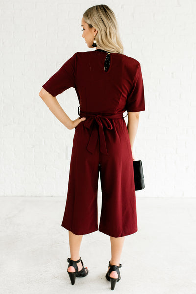 Burgundy Red Cropped Length Women's Boutique Jumpsuit