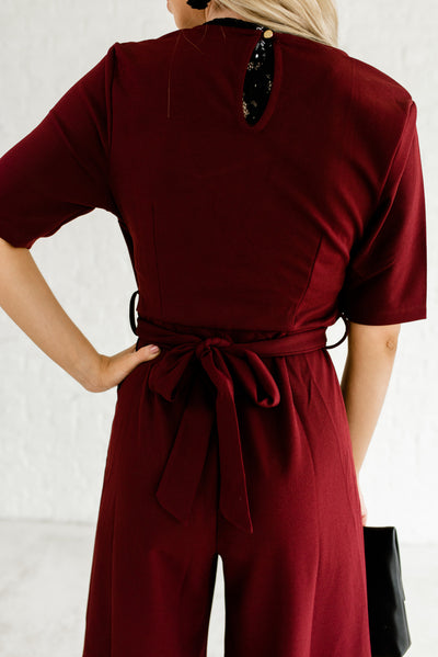 Burgundy Red Cute Women's Business Casual Boutique Jumpsuit