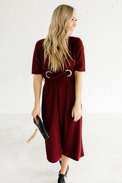 Cute Burgundy Red 1/2 Sleeve Women's Boutique Jumpsuit