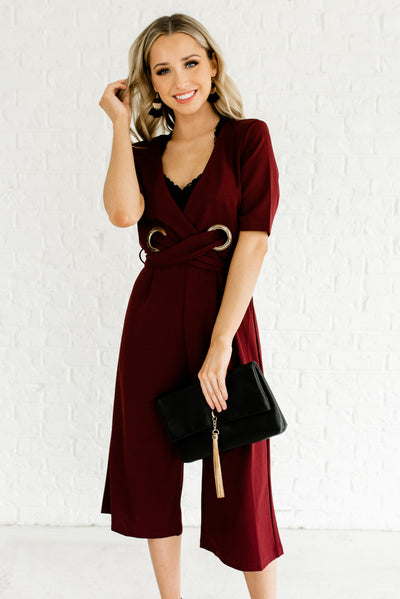 Burgundy Red Flowy Boutique Jumpsuits for Women