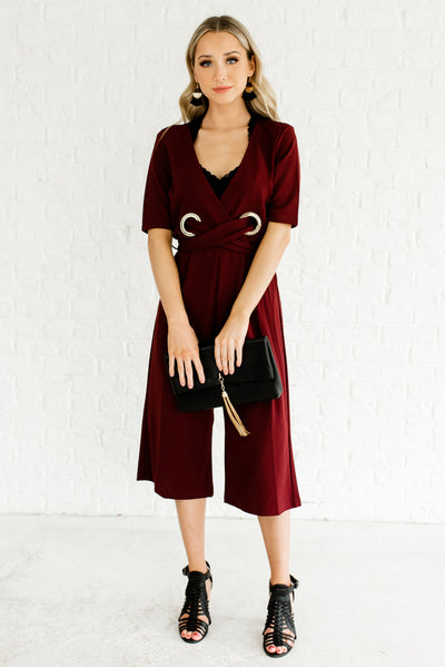 Burgundy Red Faux Wrap Boutique Jumpsuits for Women