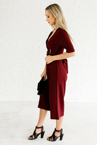 Burgundy Red Women's Business Casual Boutique Clothing