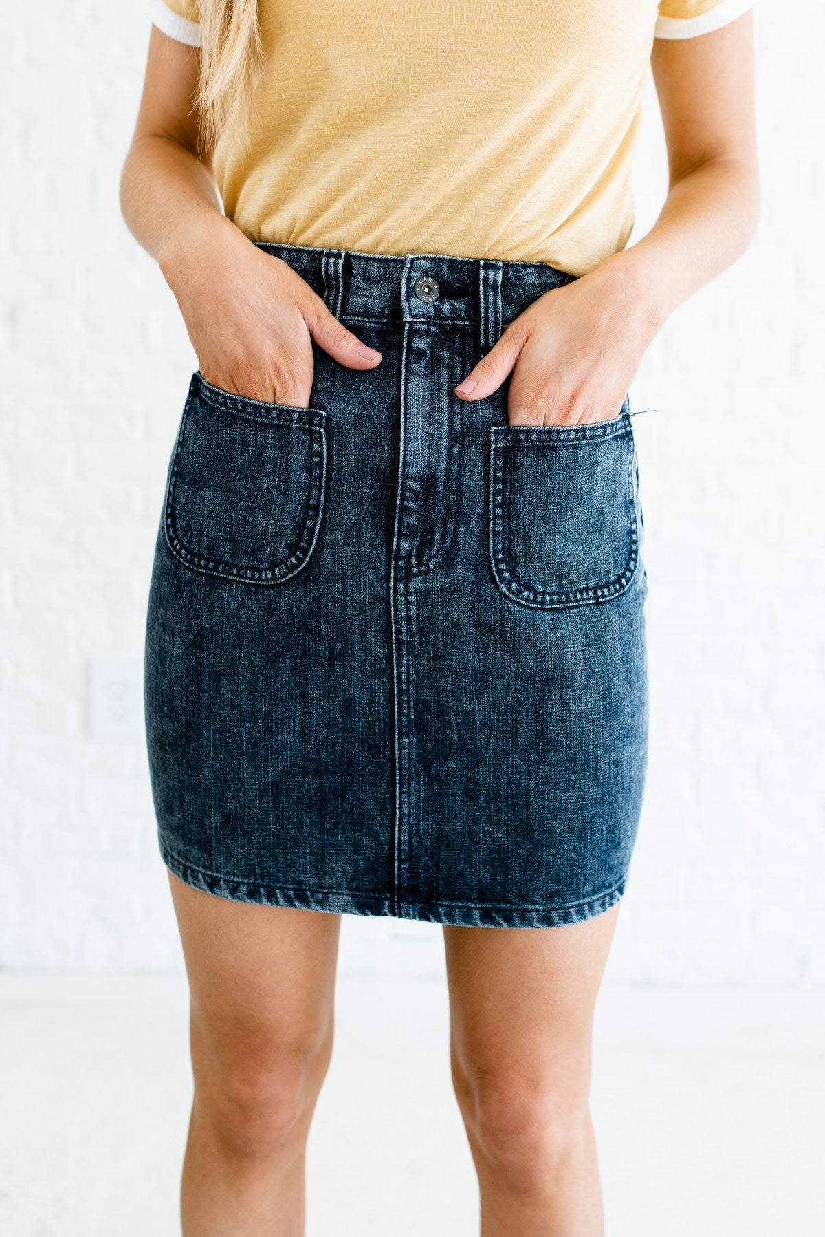 Dark Mineral Wash Blue High-Quality Denim Material Boutique Skirts for Women