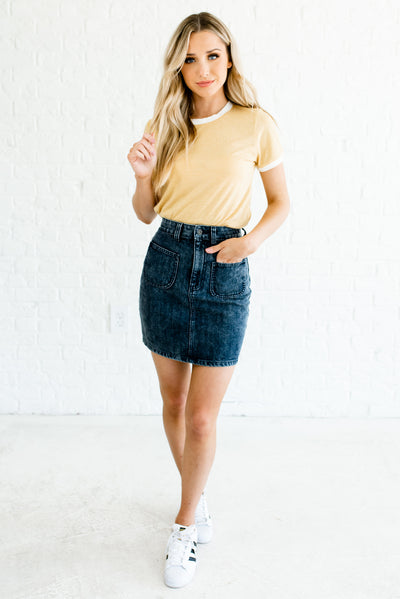 Dark Mineral Wash Blue Women's Casual Comfortable Boutique Mini Denim Skirt