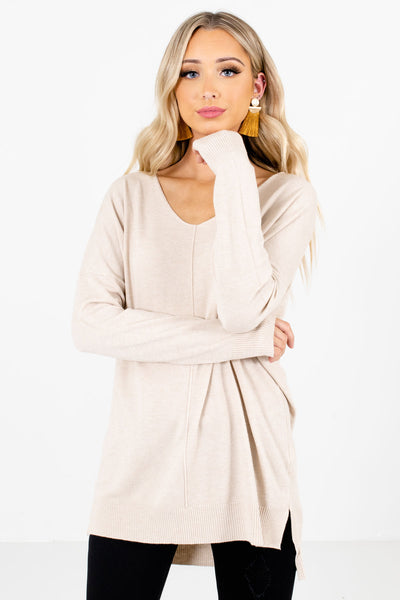 Beige Brown Cute and Comfortable Boutique Sweaters for Women