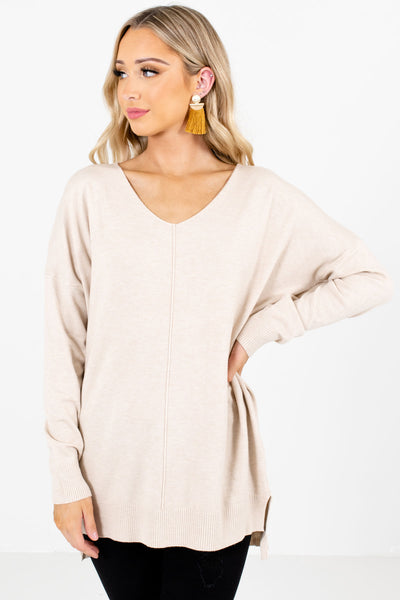 Beige Brown Boutique Fleece-Lined Sweaters for Women
