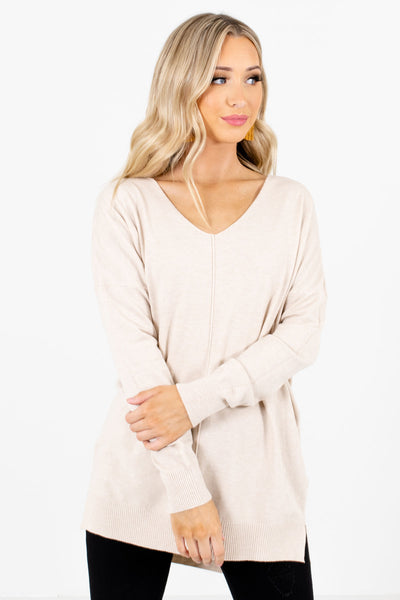 Women's Beige Brown Soft Relaxed Fit Boutique Sweater
