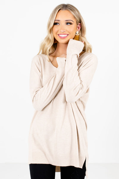 Women's Beige Brown High-Low Hem Boutique Sweater