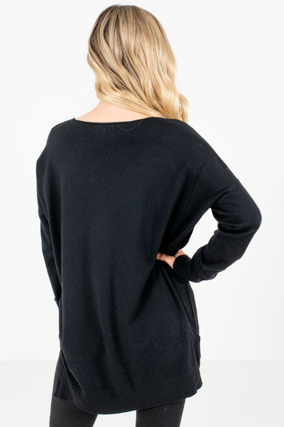 Black Lightweight Women's Sweater Cozy Warm Clothes for Winter