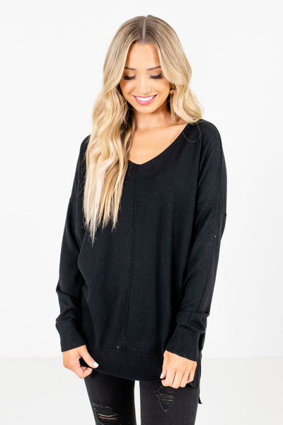 Black Oversized Sweaters for Women Cozy Warm Winter Clothing