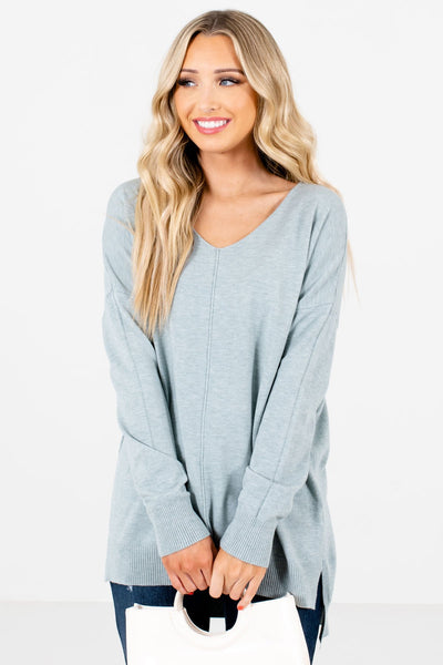 Light Blue Soft High-Quality Boutique Sweaters for Women