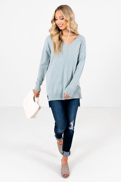Women's Light Blue Warm and Cozy Boutique Sweater