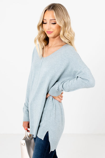 Light Blue Cute and Comfortable Boutique Sweaters for Women