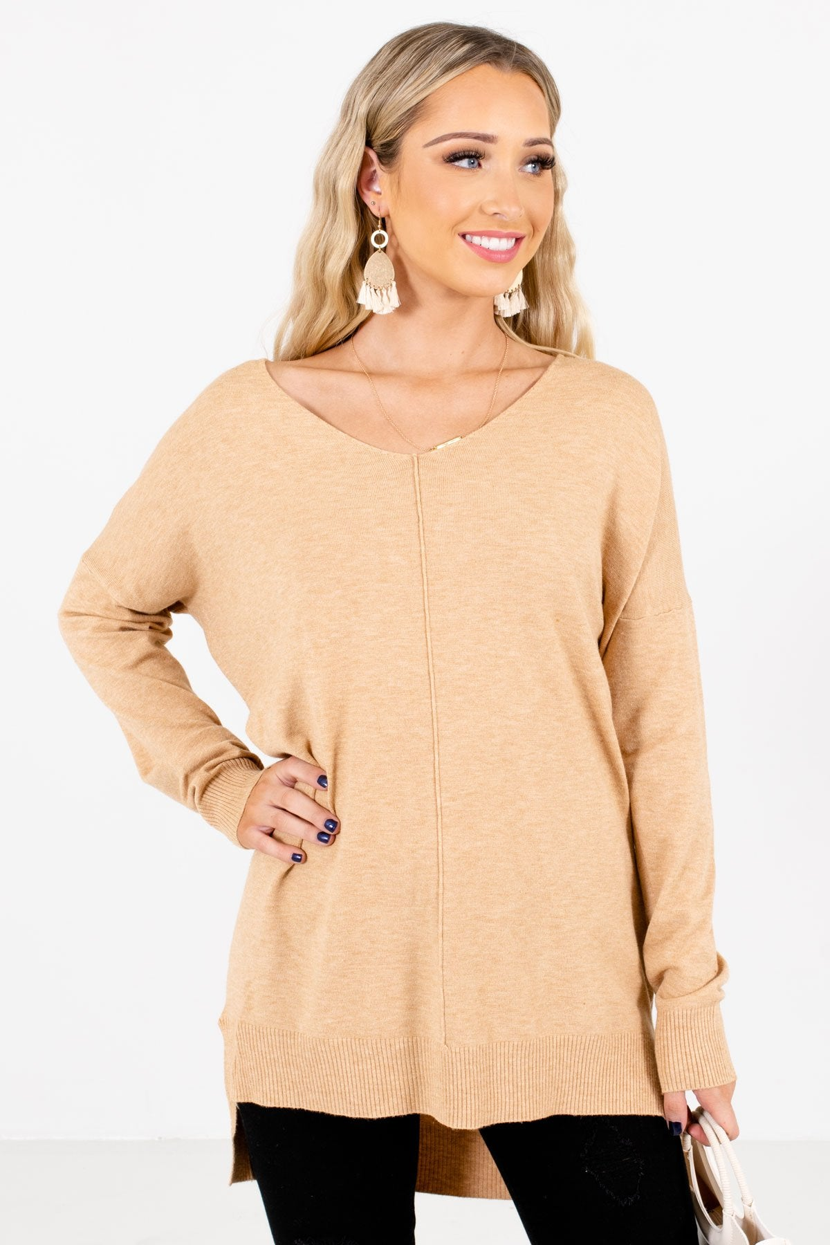 Camel Brown V-Neckline Boutique Sweaters for Women