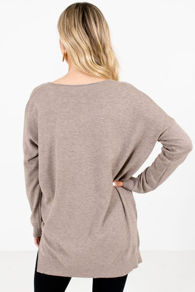 Women's Mocha Brown V-Neckline Boutique Sweater