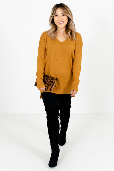 Women's Mustard Yellow High-Low Hem Boutique Sweater