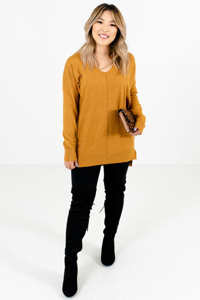 Mustard Yellow Warm and Cozy Boutique Sweaters for Women