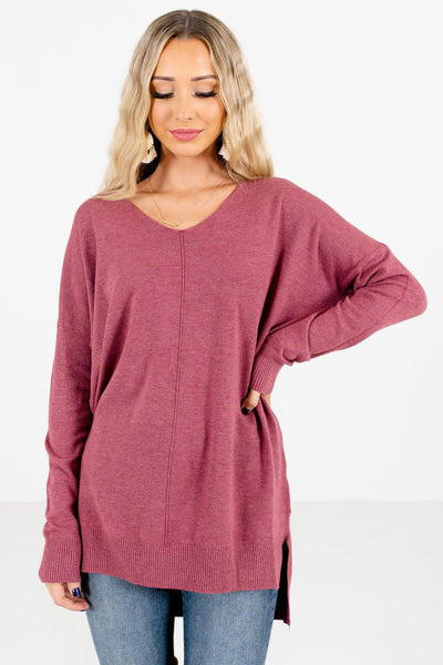 Purple V-Neckline Boutique Sweaters for Women