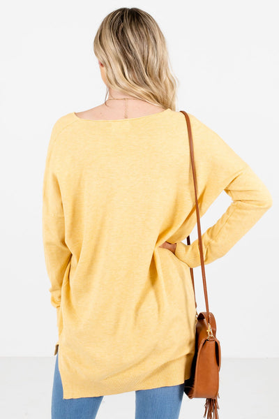 Women's Yellow Split High-Low Hem Boutique Sweater