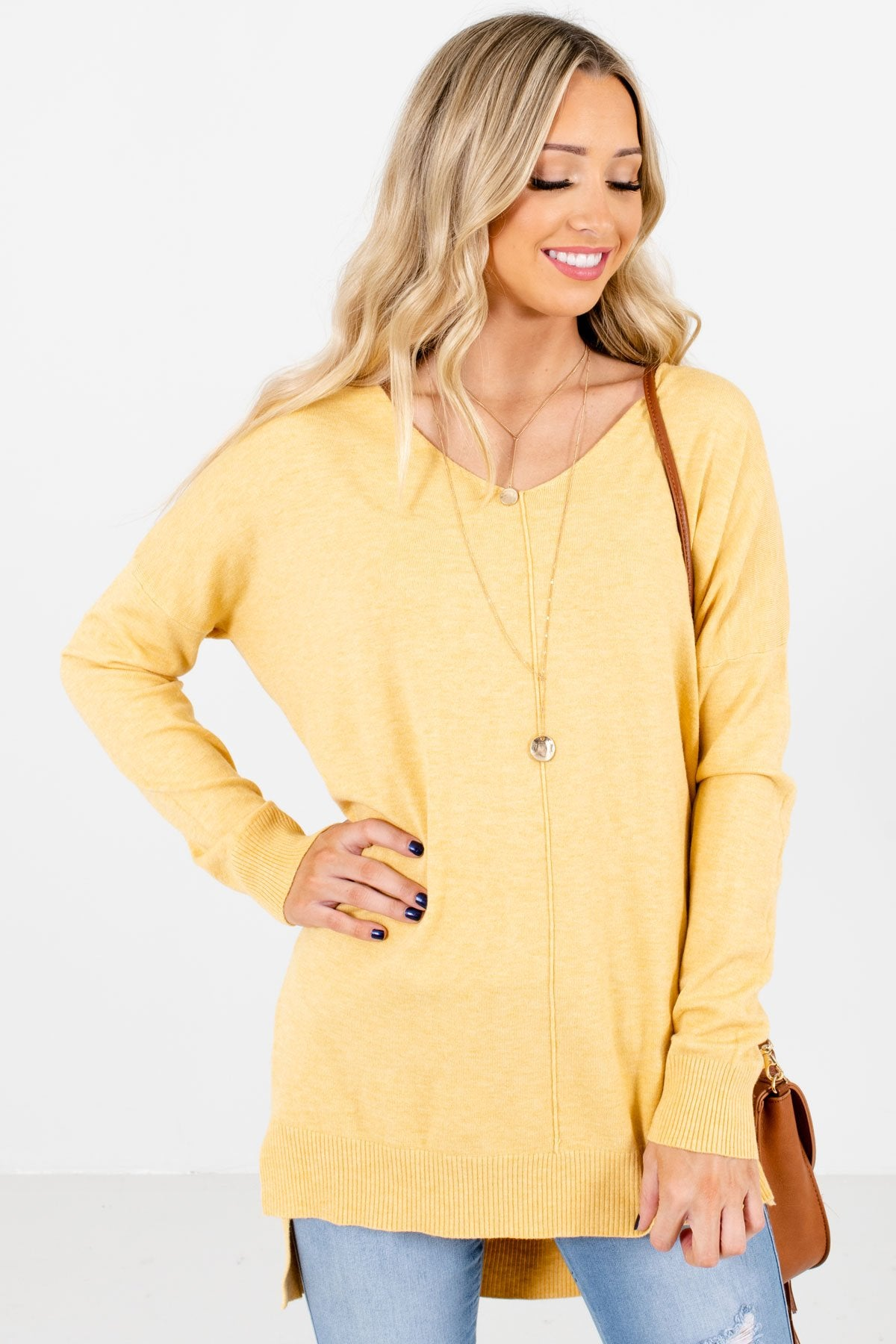 Yellow V-Neckline Boutique Sweaters for Women