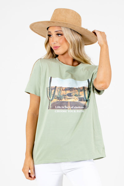 Women's Green Casual Everyday Boutique Graphic T-Shirt