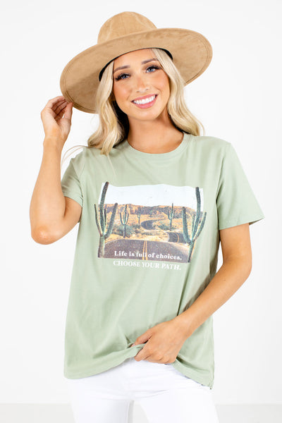 Sage Green Desert Graphic Boutique Tees for Women