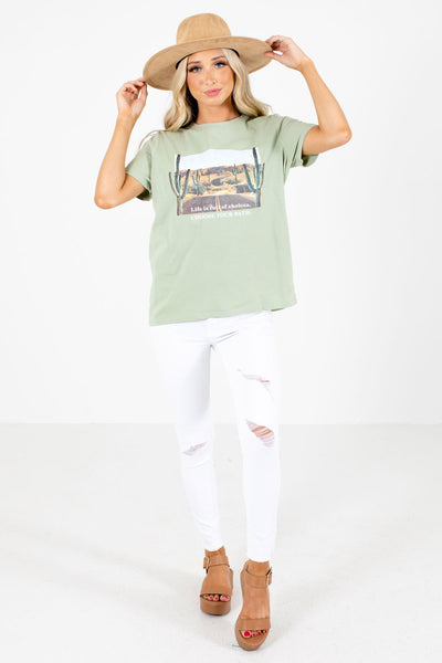 Green Cute and Comfortable Boutique Graphic T-Shirts for Women