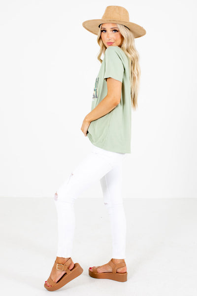 Green High-Quality Material Boutique Graphic Tees for Women