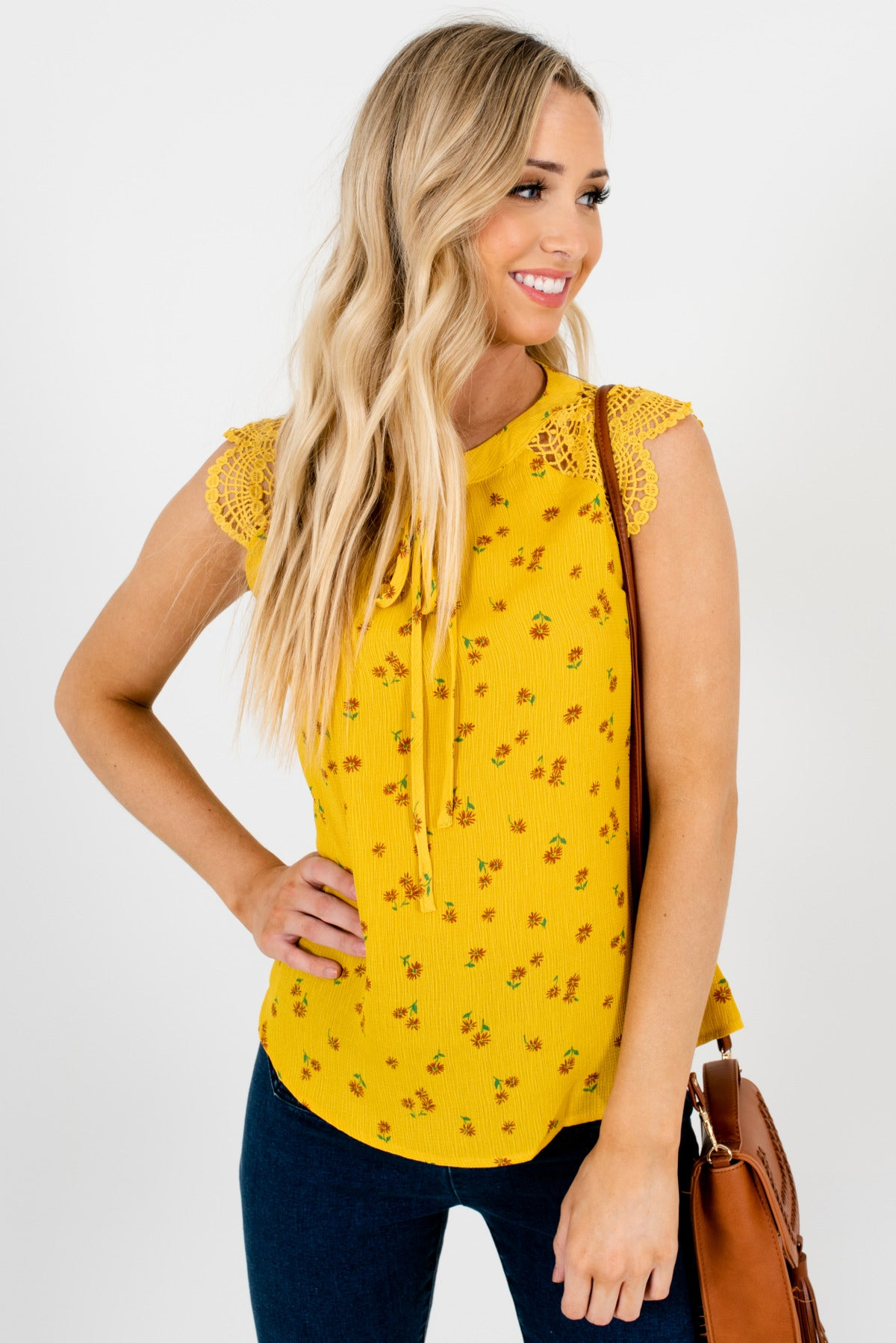 Mustard Yellow Green and Brown Floral Patterned Boutique Tops for Women