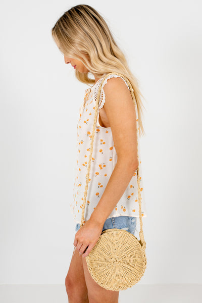 Cream High-Quality Lightweight Boutique Floral Tops for Women