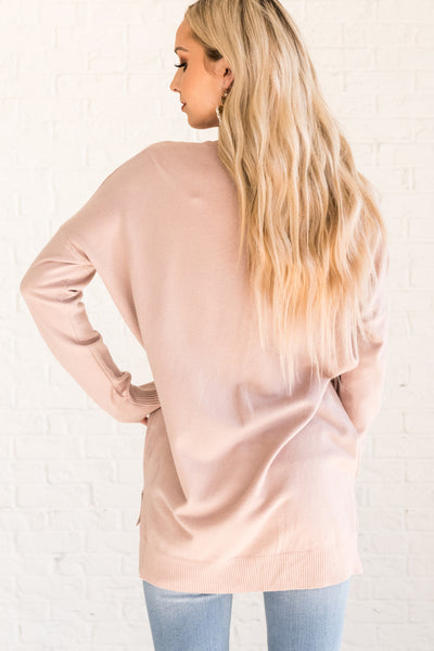 Dusty Pink Women's Lightweight Sweaters Cozy Warm