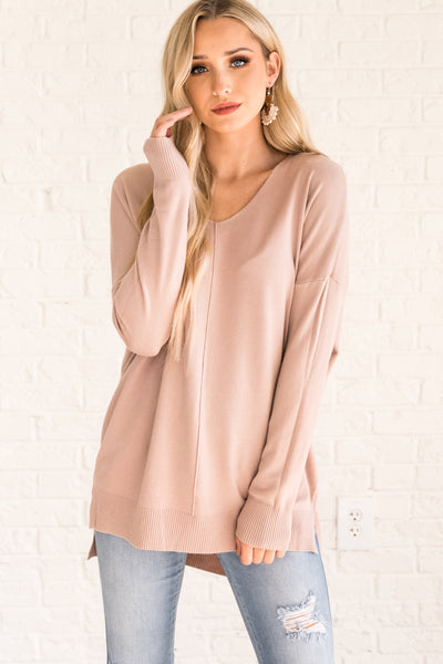 Dusty Pink Oversized Sweaters for Women Cozy Warm Clothes