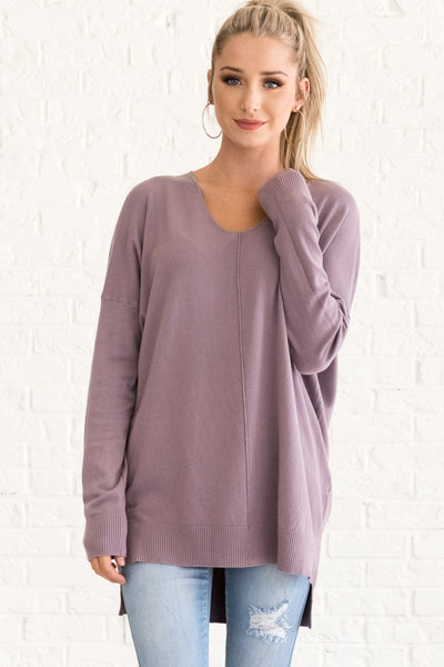Lavender Purple Lightweight Sweaters for Women