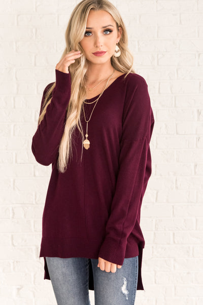 Plum Purple Lightweight Sweaters for Women