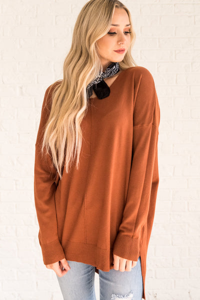 Rust Orange Oversized Sweaters for Women Cozy Warm Clothes
