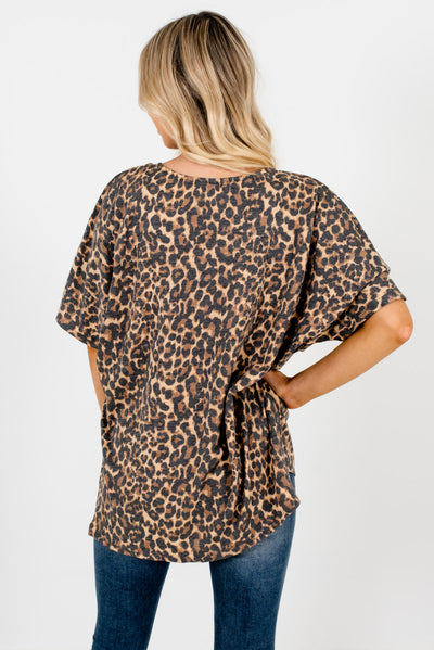 Women's Beige Brown High-Low Hem Kimono
