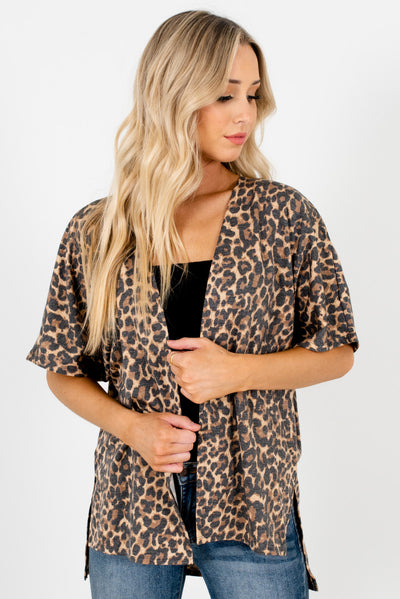 Women's Beige Brown High-Quality Stretchy Boutique Kimono