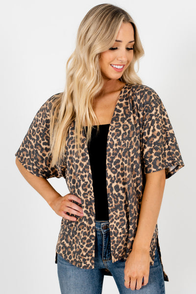 Beige Leopard Print Patterned Boutique Kimonos for Women