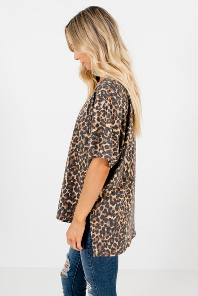 Beige Brown Animal Print Boutique Clothing for Women