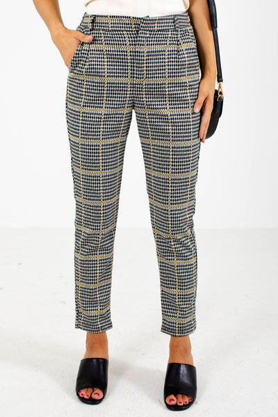 Mustard and Gray Houndstooth Patterned Boutique Pants for Women
