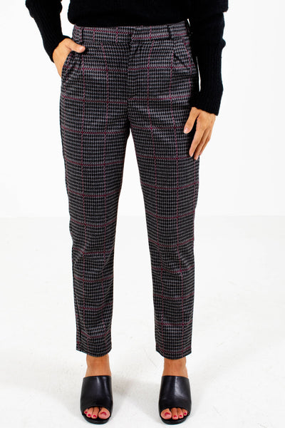 Wine and Black Boutique Pants with Pockets for Women