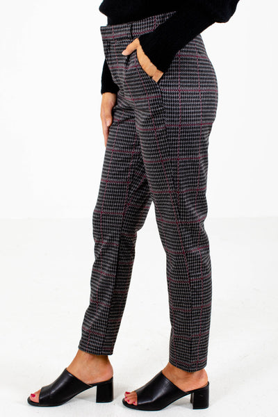 Women's Wine and Black Houndstooth Patterned Boutique Pants