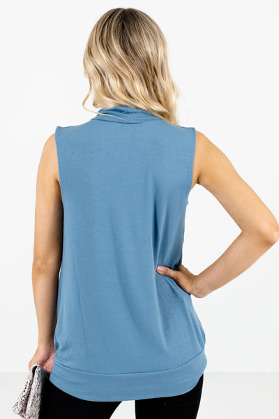 Women's Blue Pleated Detailed Boutique Tank Top