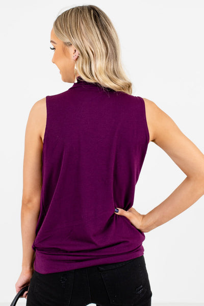 Women's Purple Pleated Detailed Boutique Tank Top