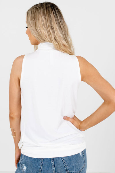 Women's White Pleated Detailed Boutique Tank Top